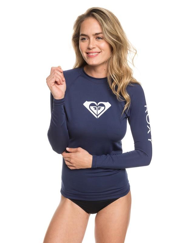 0 Whole Hearted Long Sleeve UPF 50 Rash Guard Blue ERJWR03221 Roxy