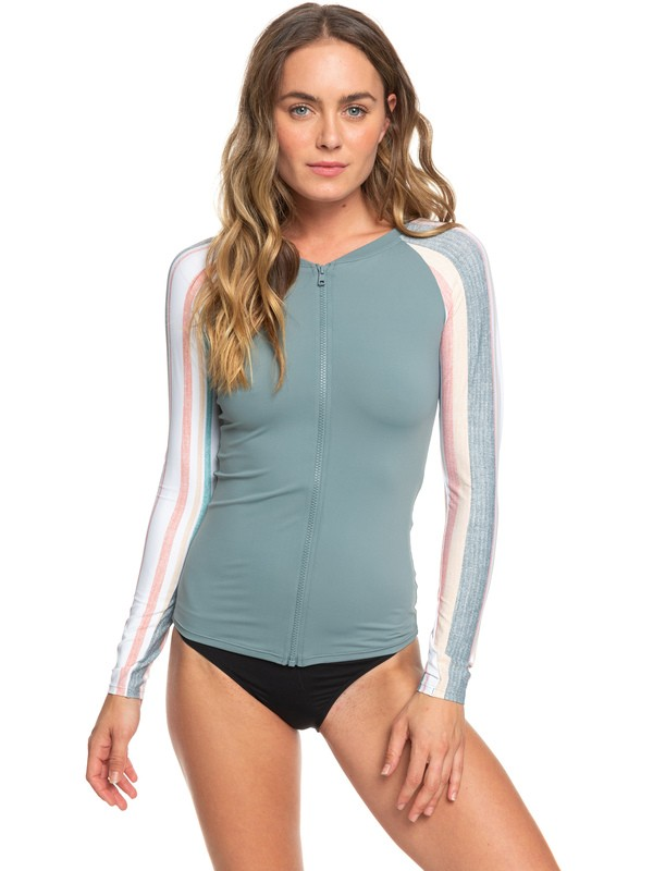 0 Fashion Long Sleeve Zip-Up UPF 50 Rashguard White ERJWR03330 Roxy