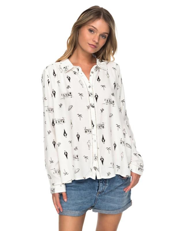 0 Romantic Path Long Sleeve Shirt White ERJWT03179 Roxy