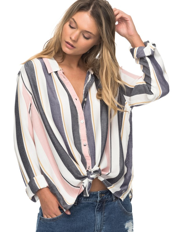 0 Romantic Path Stripe Long Sleeve Shirt  ERJWT03186 Roxy