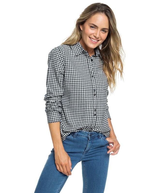 0 Concrete Streets Check Long Sleeve Flannel Shirt White ERJWT03240 Roxy