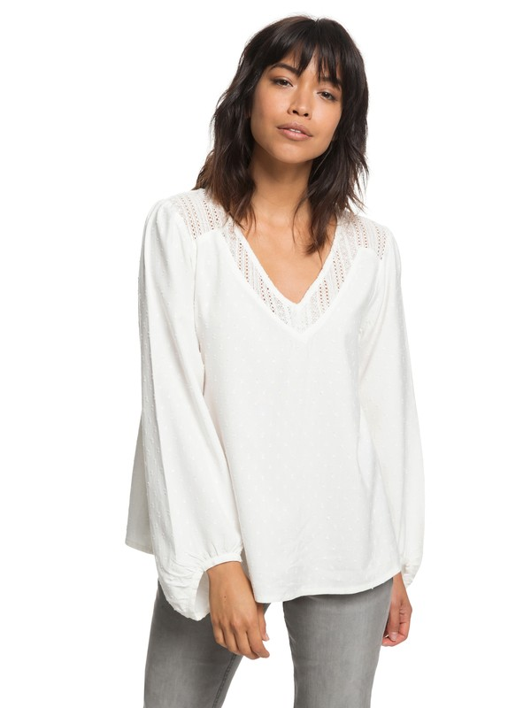 0 Lower East Life - T shirt manches longues col V pour Femme Blanc ERJWT03243 Roxy