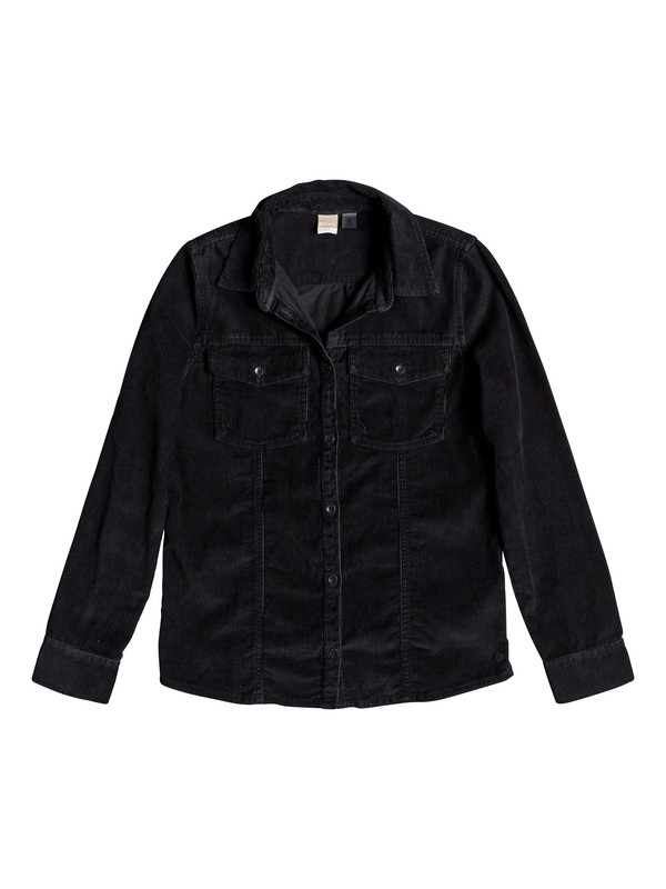 0 The Edge Of Wildness Long Sleeve Corduroy Shirt Black ERJWT03278 Roxy