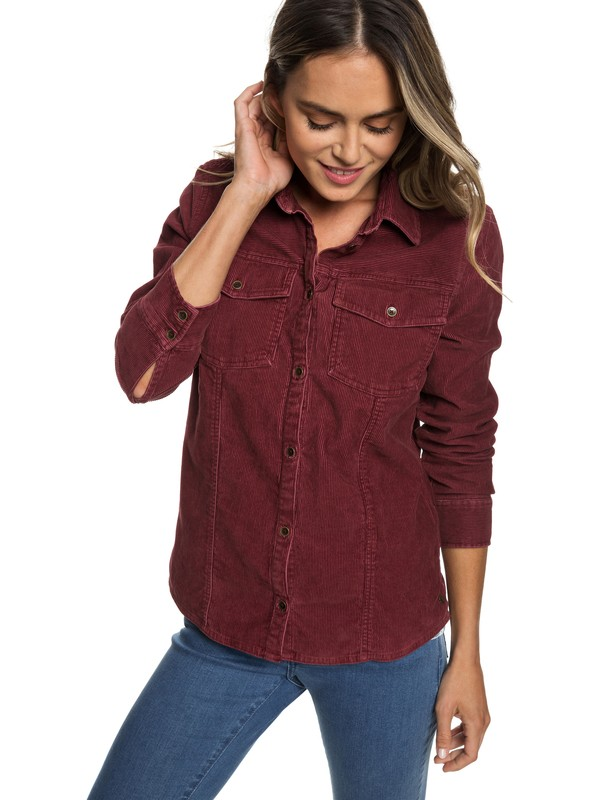 0 The Edge Of Wildness Long Sleeve Corduroy Shirt Red ERJWT03278 Roxy