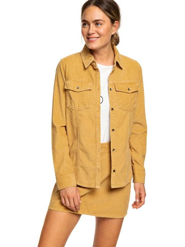 0 The Edge Of Wildness Long Sleeve Corduroy Shirt Beige ERJWT03278 Roxy