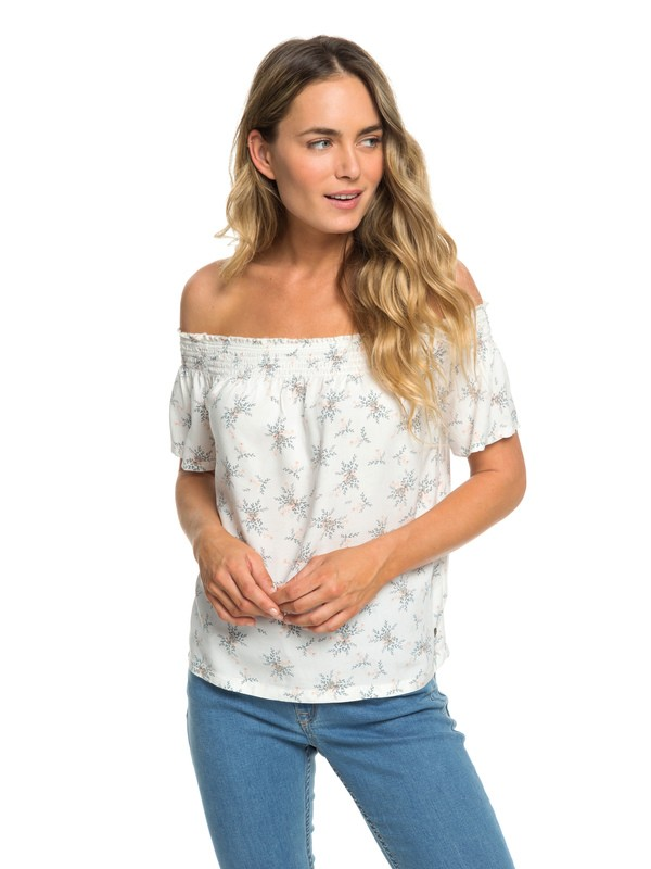 0 Rockefeller Vibes Off-The-Shoulder Top White ERJWT03291 Roxy