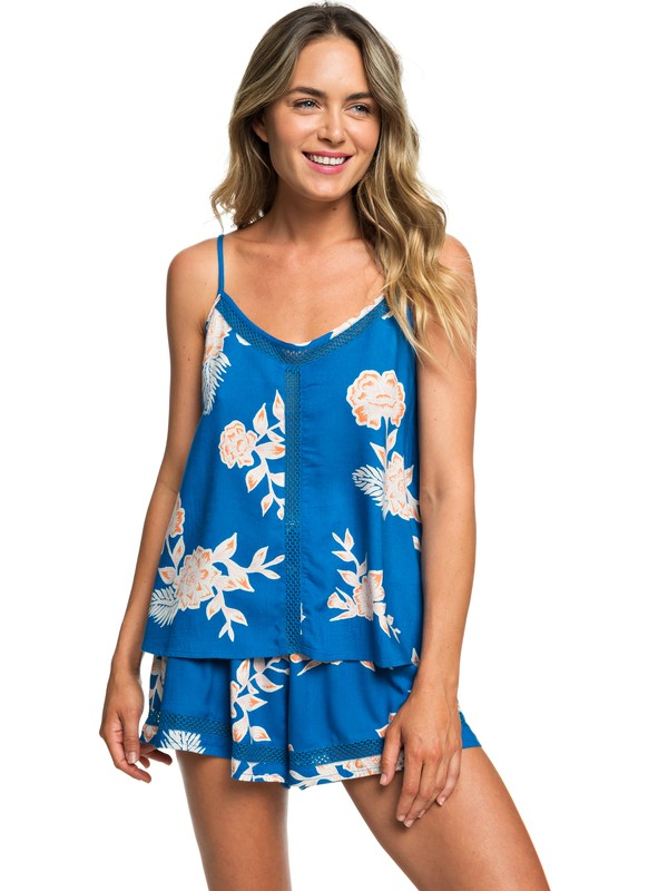 0 Floral Slow Cami Top Blue ERJWT03312 Roxy