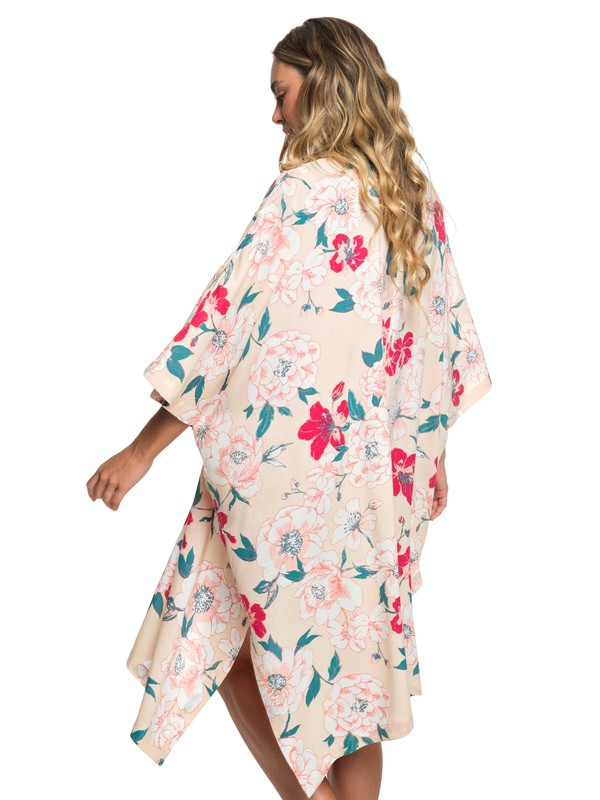 0 Fringe And Flower Mid-Length Kimono Beige ERJWT03322 Roxy