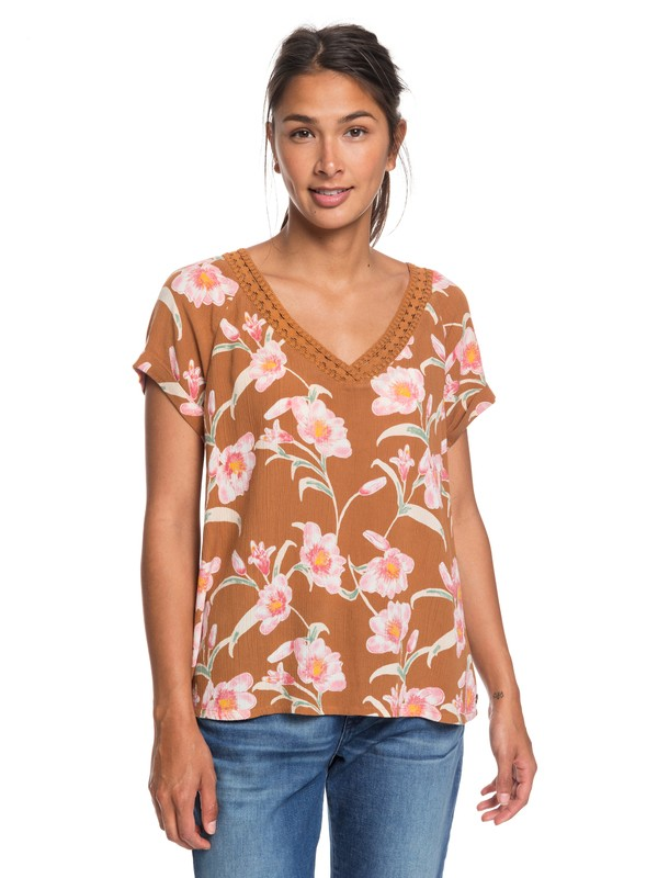 0 New Break Evasion - V-Neck Short Sleeve Top Brown ERJWT03332 Roxy