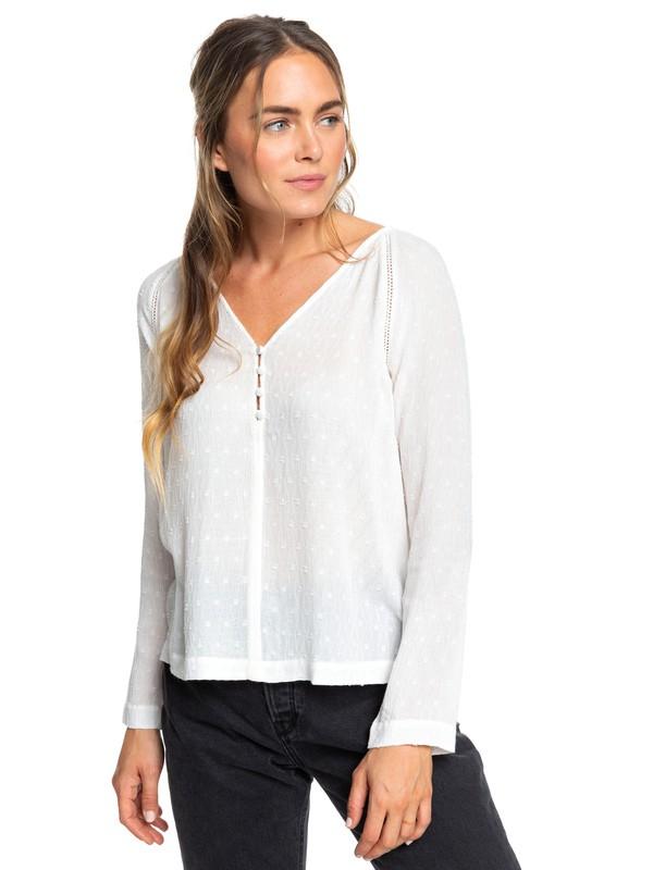 0 Terracotta Lands - Chemisier à manches longues pour Femme Blanc ERJWT03342 Roxy