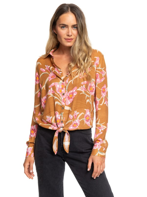 0 Suburb Vibes Long Sleeve Tie-Front Shirt Brown ERJWT03366 Roxy