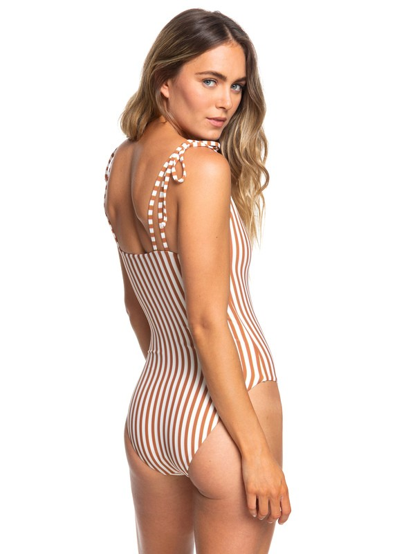 0 Sister One Piece High Leg Swimsuit White ERJX103178 Roxy