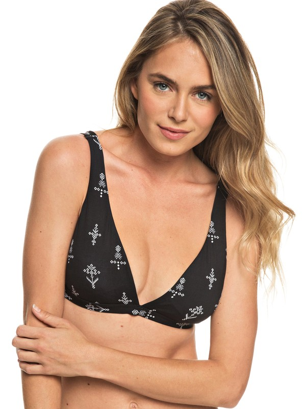0 Softly Love Elongated Tri Bikini Top Black ERJX303680 Roxy