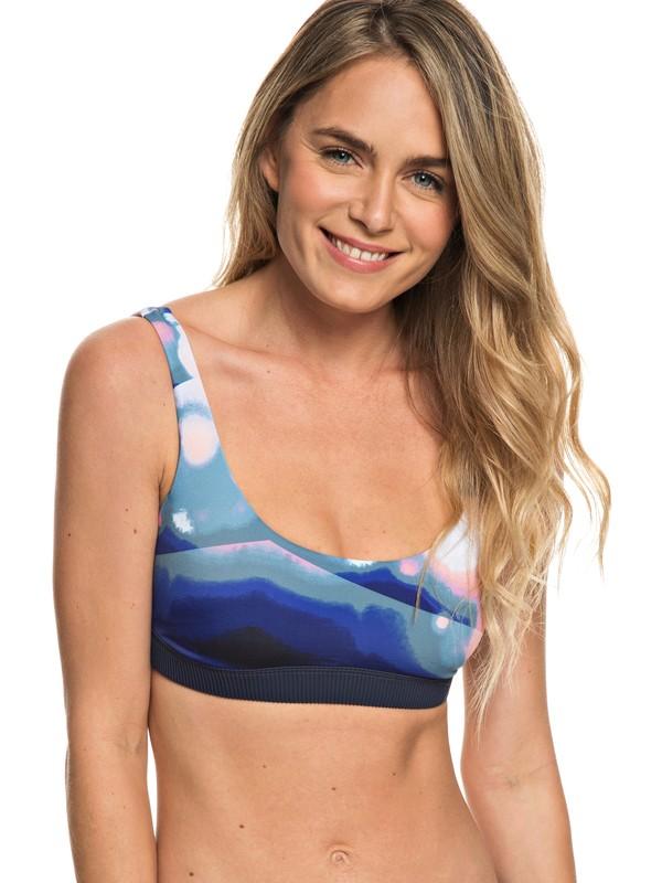 0 ROXY Fitness Sporty Bra Bikini Top Blue ERJX303700 Roxy