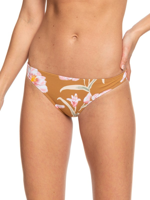 0 Printed Beach Classics Moderate Bikini Bottoms Brown ERJX403782 Roxy