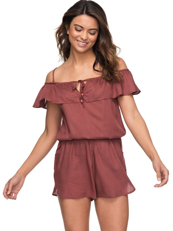 0 Western Holiday Strappy Romper Brown ERJX603112 Roxy