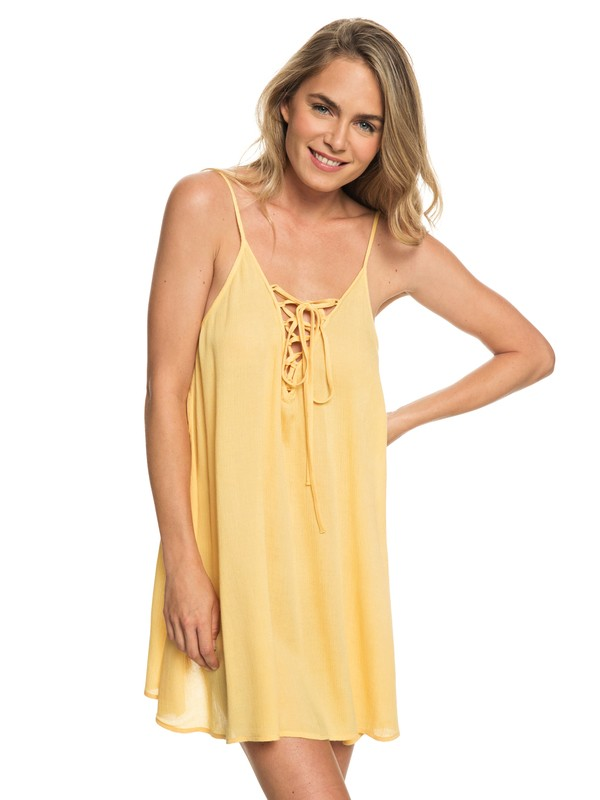 0 Softly Love Strappy Dress Yellow ERJX603122 Roxy