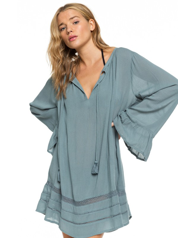 0 Under The Moon Long Sleeve Summer Dress Blue ERJX603158 Roxy