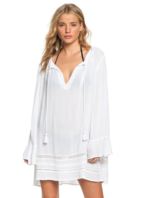 0 Under The Moon Long Sleeve Summer Dress White ERJX603158 Roxy