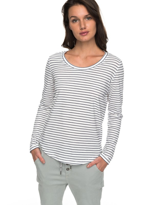 0 Just Simple Stripe - Camiseta de Manga Larga para Mujer Azul ERJZT04014 Roxy