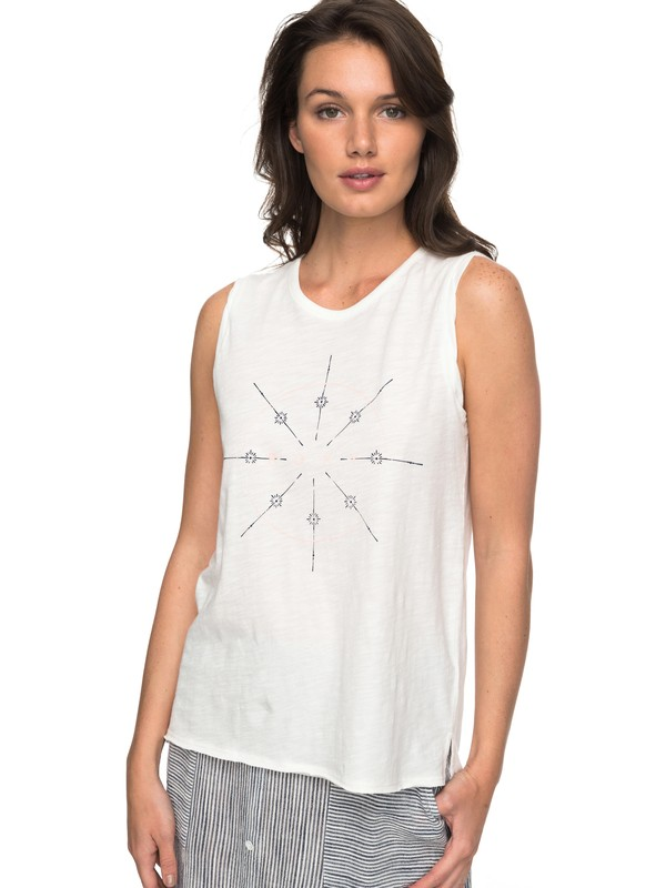 0 Time For An Other Year - Tee-shirt sans manches pour Femme Blanc ERJZT04184 Roxy