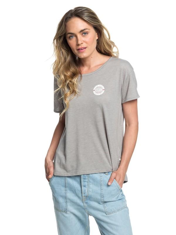 0 Cruz Life A - T-shirt col rond pour Femme Gris ERJZT04381 Roxy