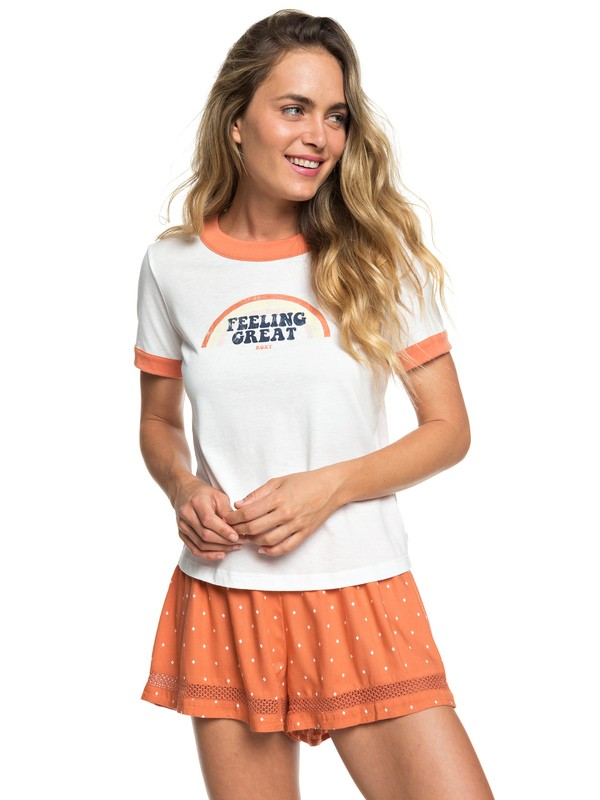 0 Camiseta Ringer B Sand and Sun Rays Blanco ERJZT04578 Roxy