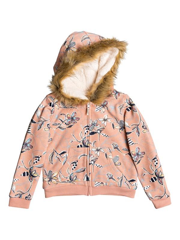 0 Butterflies Havin Fun - Sweat à capuche zippé pour Fille 2-7 ans Rose ERLFT03151 Roxy