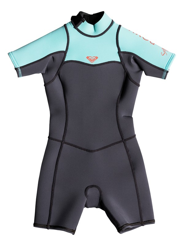 0 2/2mm Syncro Series - Short Sleeve Back Zip FLT Springsuit for Girls 2-7 Green ERLW503001 Roxy