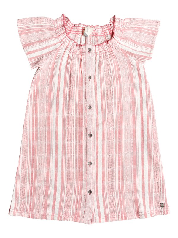 0 Girl's 2-6 Last Day Short Sleeve Buttoned Dress Pink ERLWD03061 Roxy