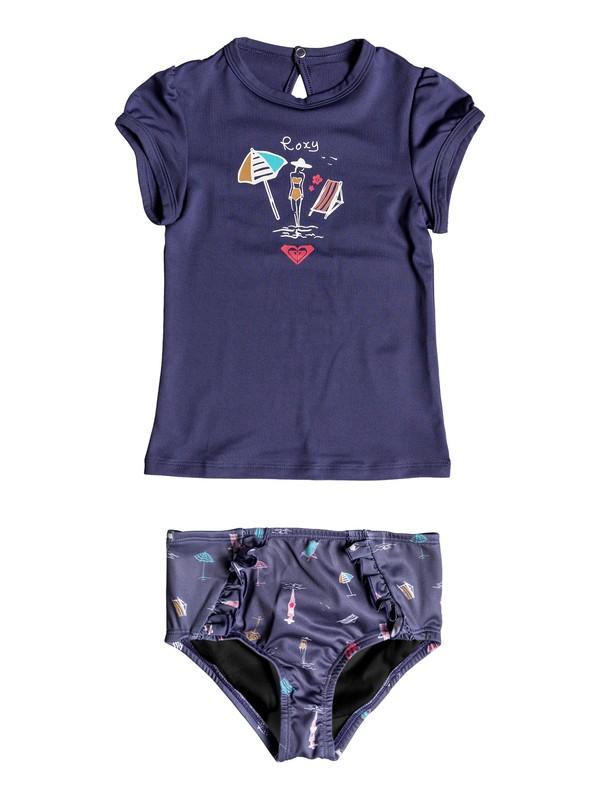 0 Girl's 2-6 Tropicool Sunshine Cap Sleeve UPF 50 Rashguard Set Blue ERLWR03068 Roxy