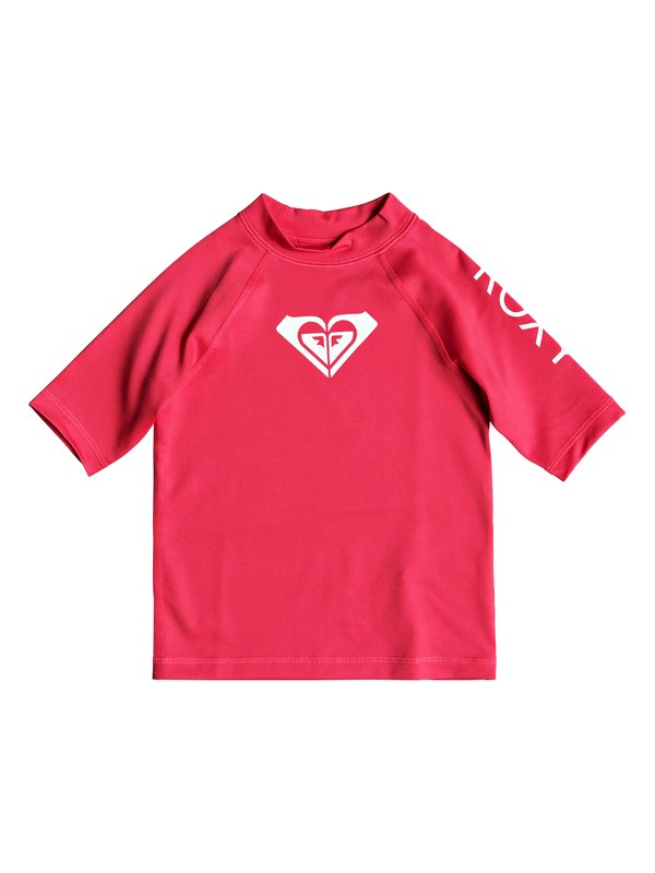 0 Girl's 2-6 Whole Hearted Short Sleeve UPF 50 Rash Guard Pink ERLWR03074 Roxy