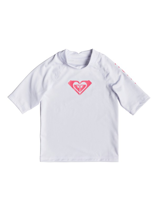 0 Girl's 2-6 Whole Hearted Short Sleeve UPF 50 Rash Guard White ERLWR03074 Roxy
