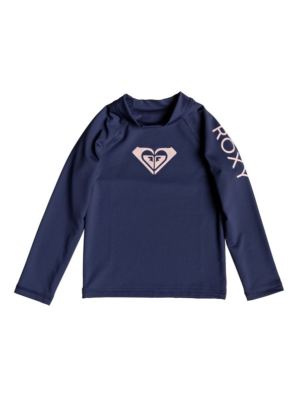 0 Girl's 2-6 Whole Hearted Long Sleeve UPF 50 Rash Guard Blue ERLWR03075 Roxy