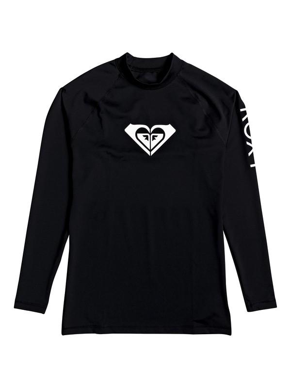 0 Girl's 2-6 Whole Hearted Long Sleeve UPF 50 Rash Guard Black ERLWR03075 Roxy