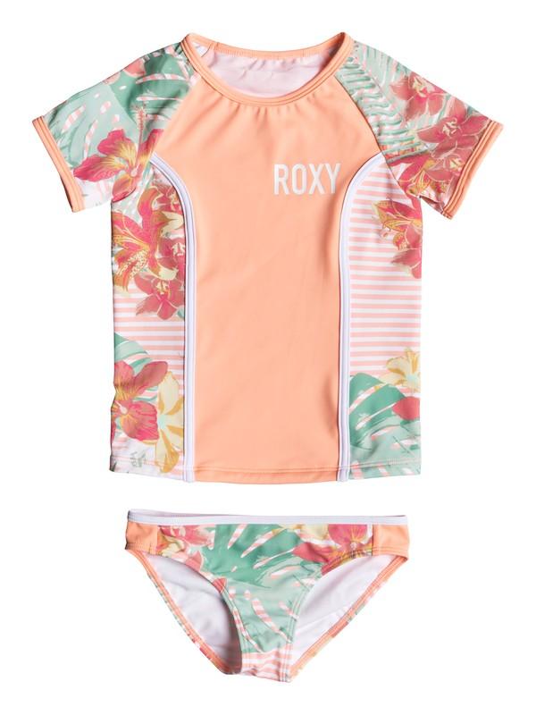 0 Girl's 2-6 Lush Florals Short Sleeve UPF 50 Rashguard Set Pink ERLWR03095 Roxy