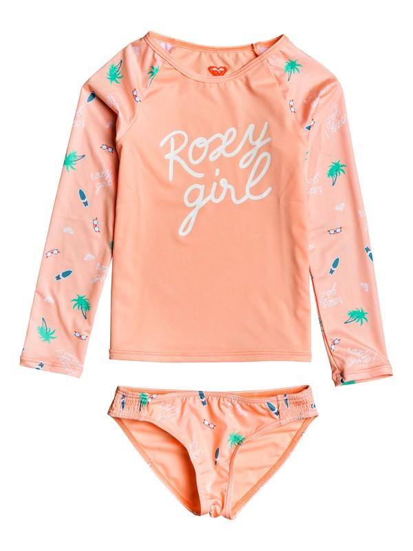 0 Girl's 2-6 Salty But Sweet Long Sleeve UPF 50 Rashguard Set Pink ERLWR03108 Roxy