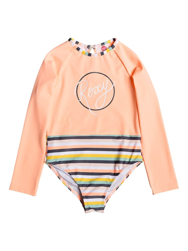 0 Girl's 2-6 Girl Lets Go Surfing Long Sleeve UPF 50 One-Piece Swimsuit Pink ERLWR03109 Roxy