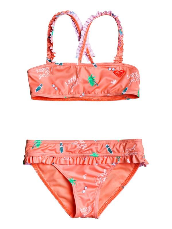 0 Girl's 2-6 Salty But Sweet Bandeau Bikini Set Pink ERLX203074 Roxy