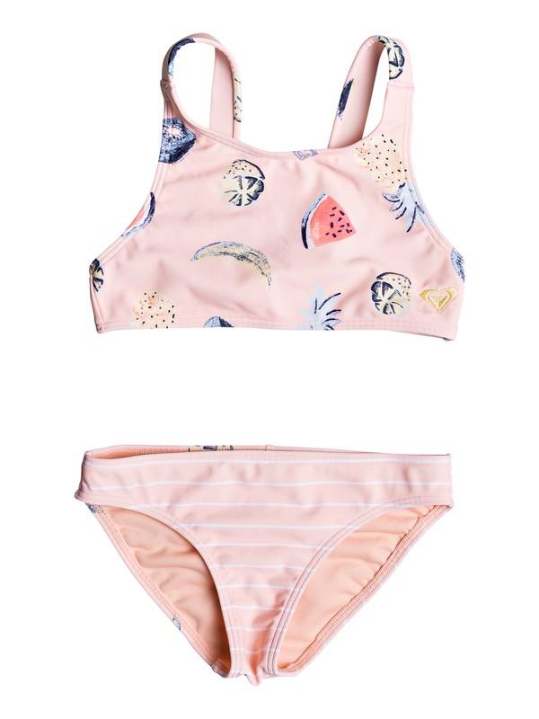0 Girl's 2-6 Splashing You Crop Top Bikini Set Pink ERLX203077 Roxy