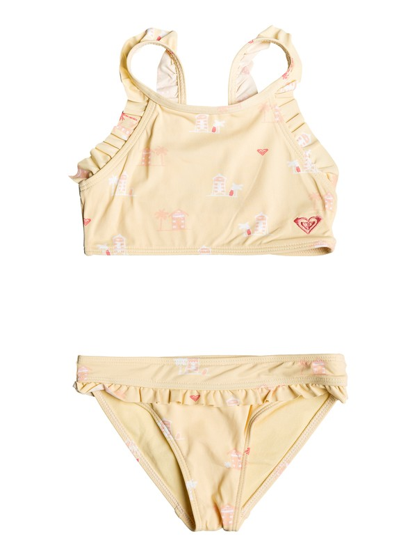 0 Girl's 2-6 Tropical Away Crop Top Bikini Set Yellow ERLX203079 Roxy