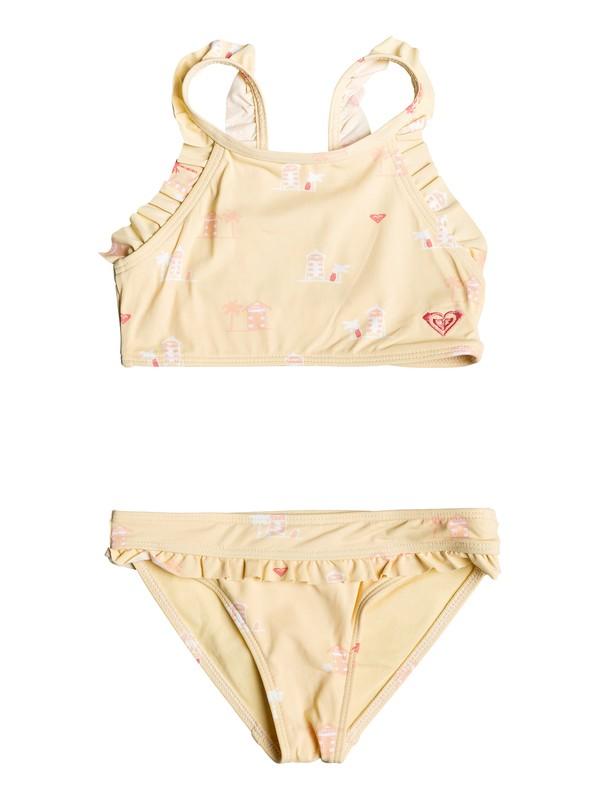 0 Niñas 2-6 Conjunto de Bikini de Parte Superior Corta Tropical Away Amarillo ERLX203079 Roxy