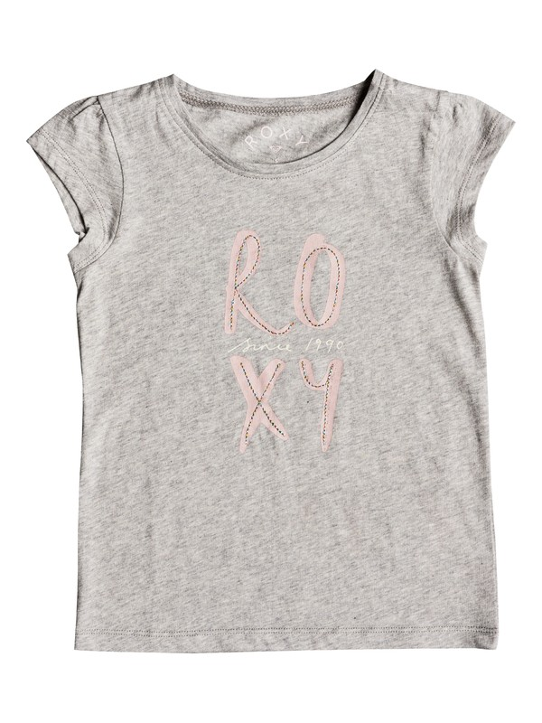 0 Girl's 2-6 Moid Poetic Corpo Cap Sleeve Tee Grey ERLZT03157 Roxy