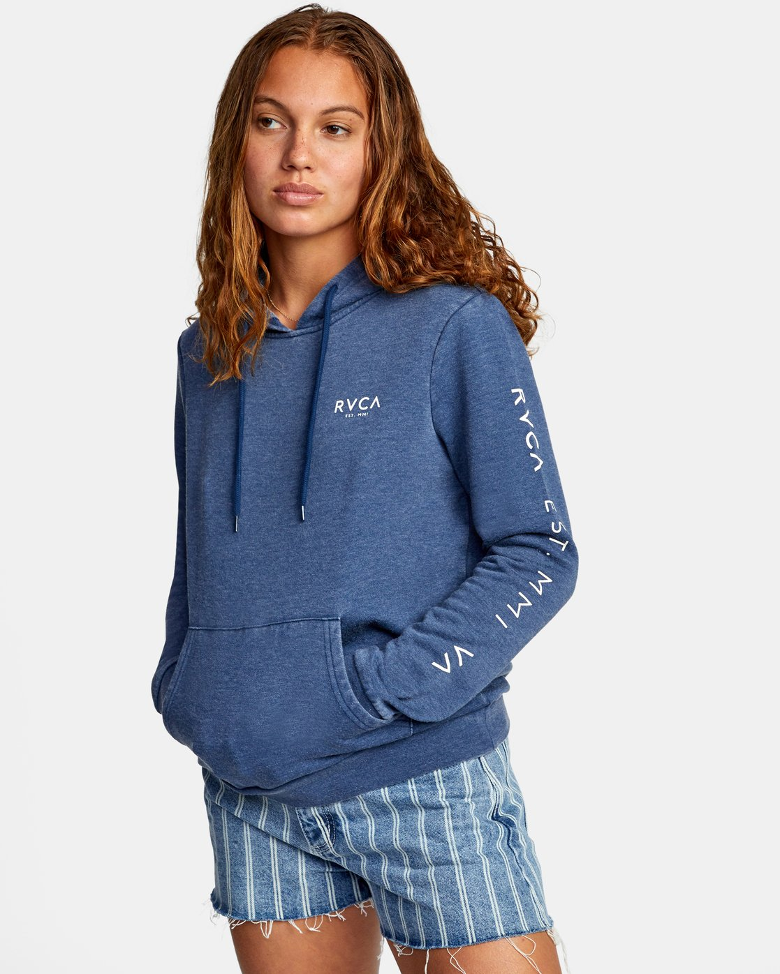 4 CLASSIC RVCA PULLOVER HOODIE Blue AVJSF00129 RVCA