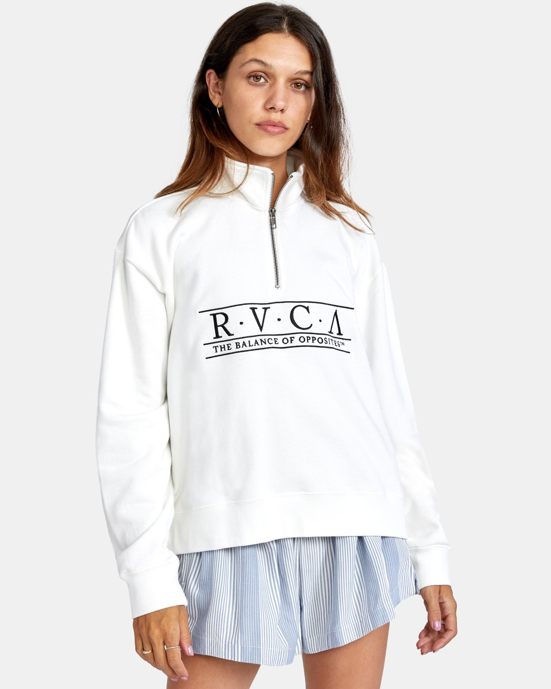 2 Constructed Fleece Sweater White AVJSF00145 RVCA