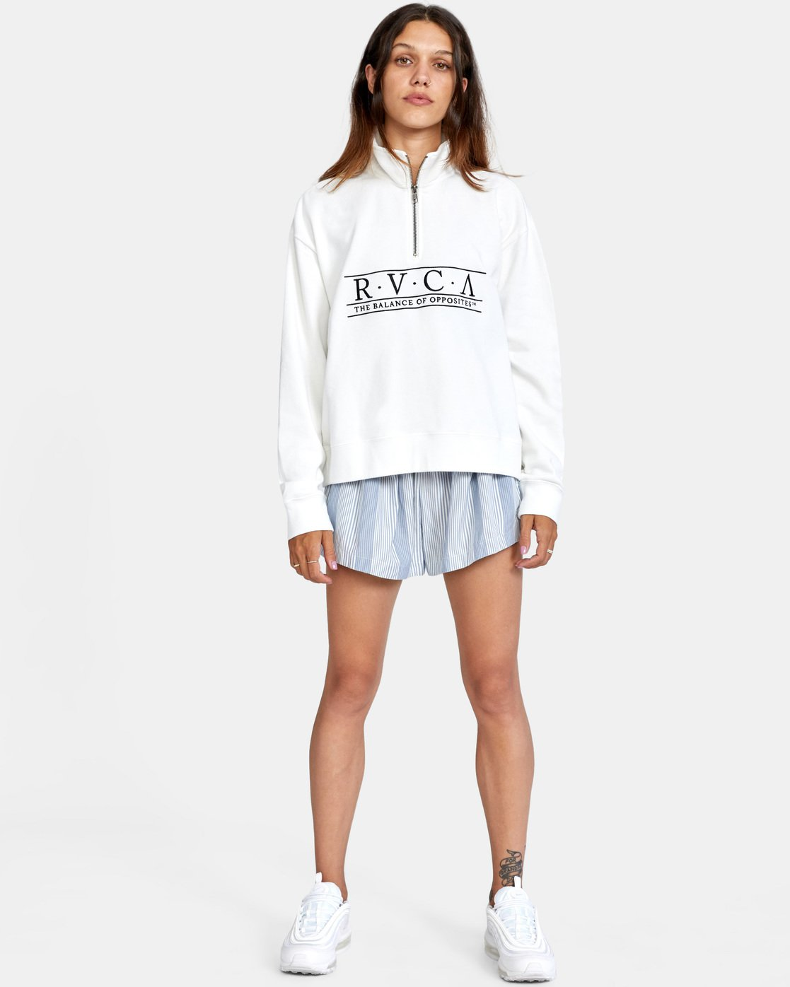4 Constructed Fleece Sweater White AVJSF00145 RVCA