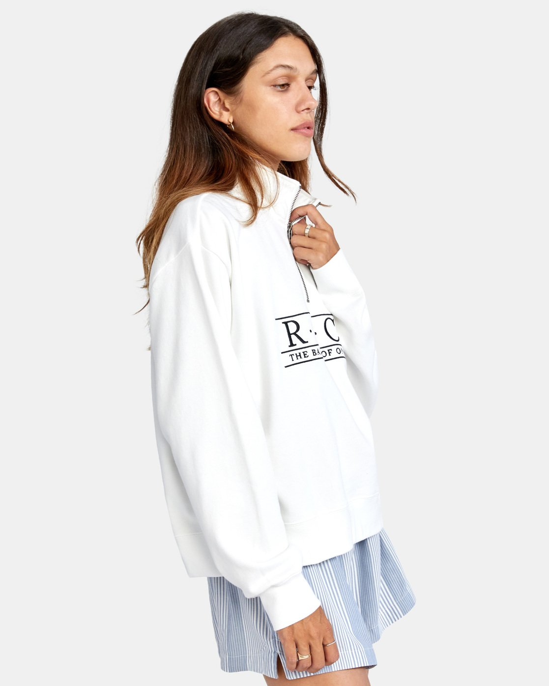 6 Constructed Fleece Sweater White AVJSF00145 RVCA