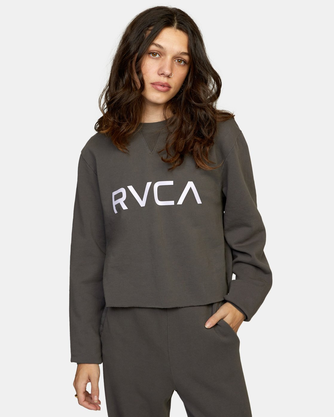 0 Big RVCA Crew Neck Sweatshirt Black AVJSF00186 RVCA