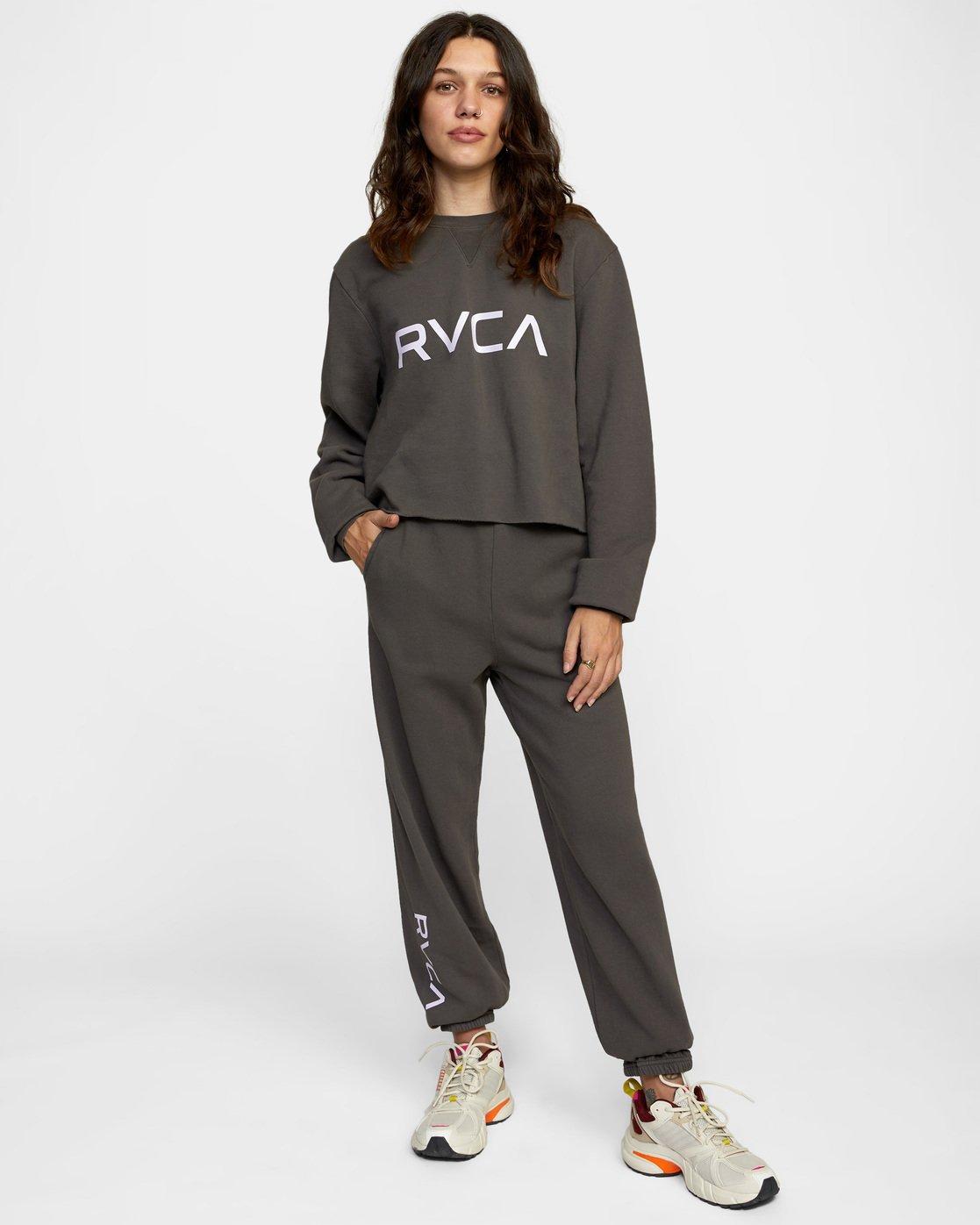 2 Big RVCA Crew Neck Sweatshirt Black AVJSF00186 RVCA