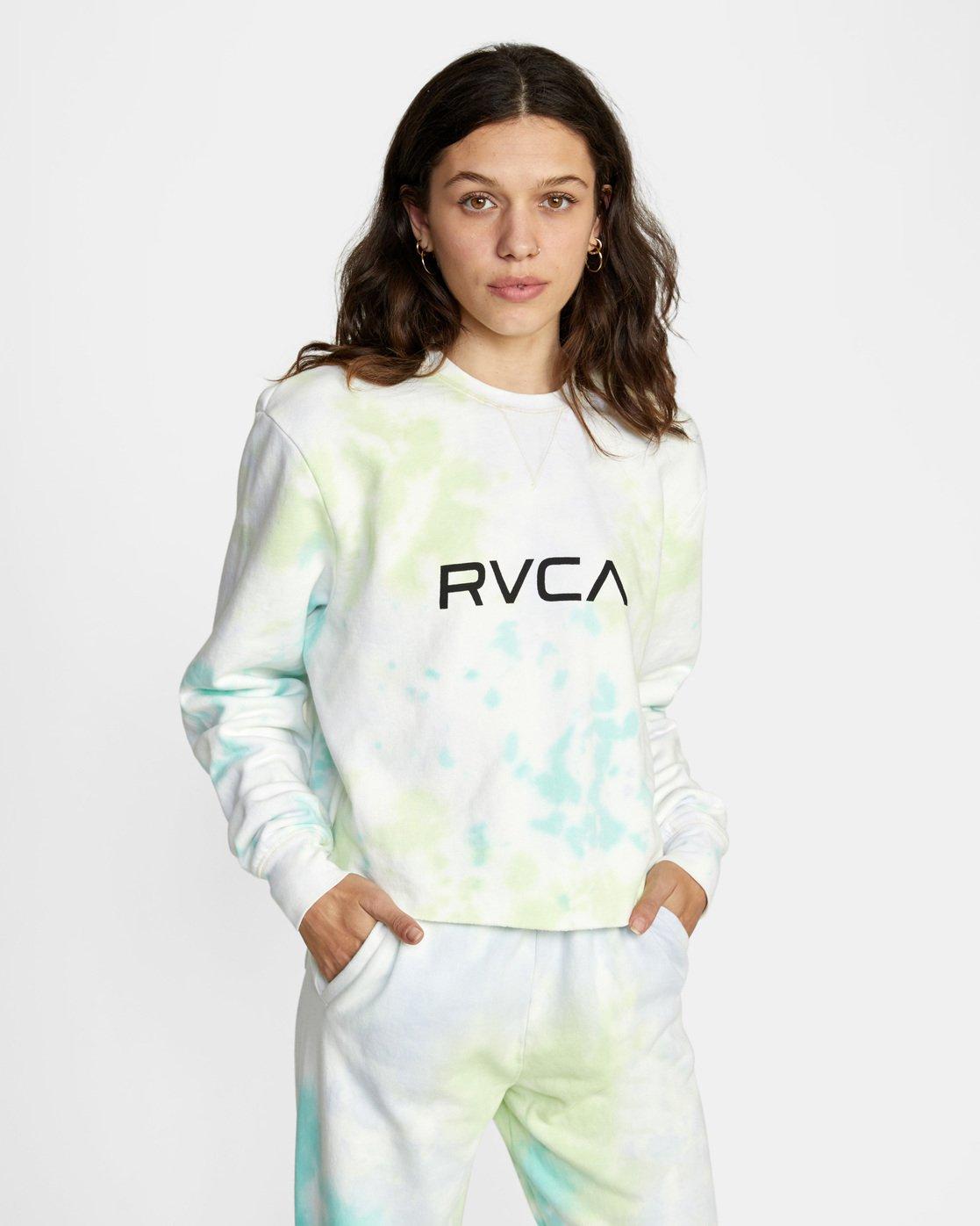 0 Big RVCA Crew Neck Sweatshirt Green AVJSF00186 RVCA